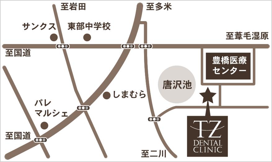 TZデンタルクリニック地図